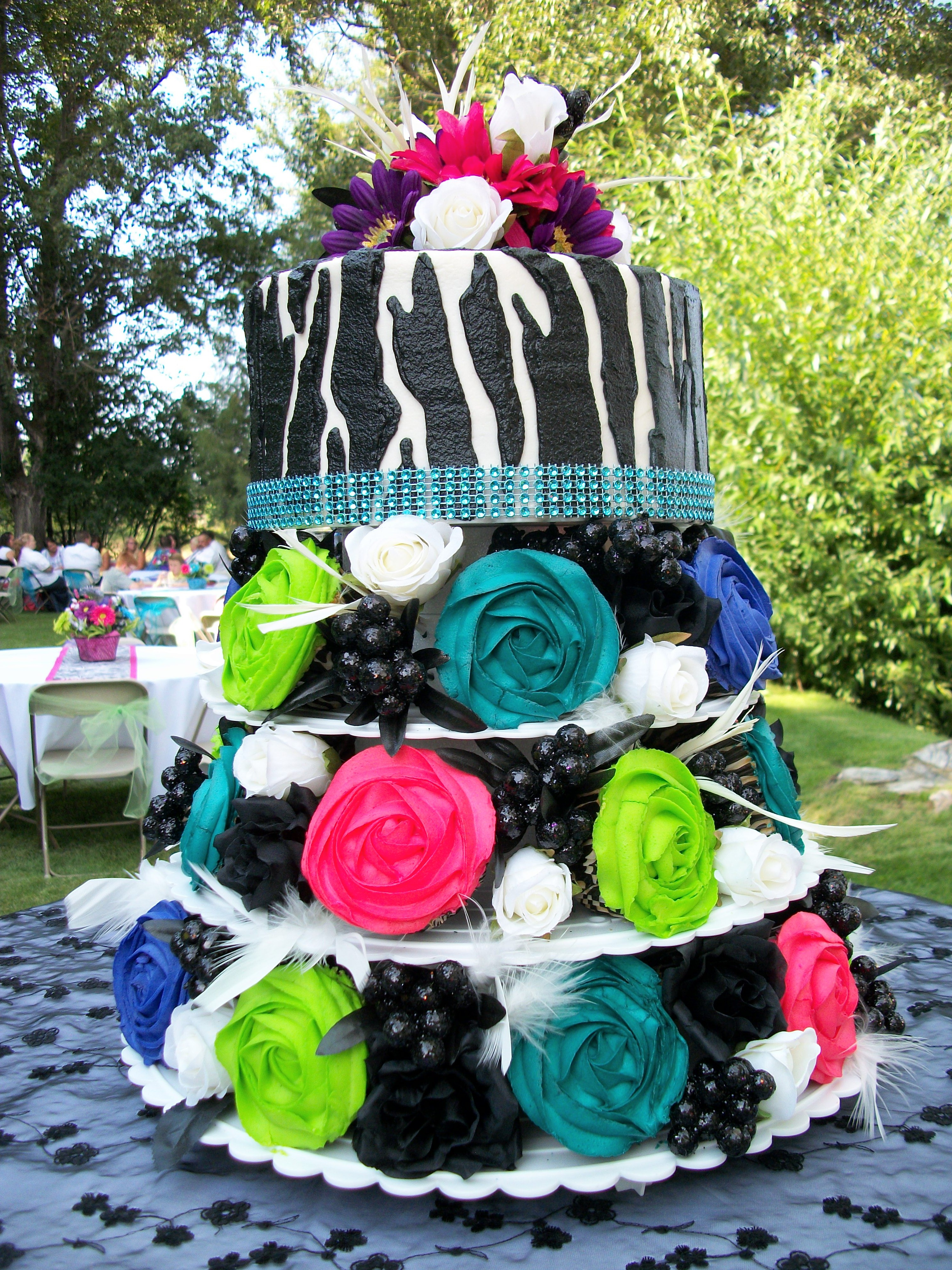 Uncategorized Cupcake Stands For Weddings Cheap - Vibrant cupcakes and zebra pattern wedding cake