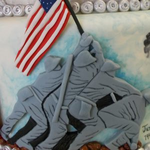 Fondant relief of Iwo Jima