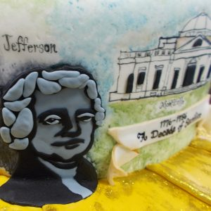 Fondant relief of Thomas Jefferson and mural of Monticello
