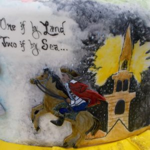 Mural of the Boston north church tower and fondant relief of Paul Revere