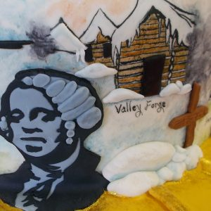 George Washington in fondant relief and Valley Forge mural