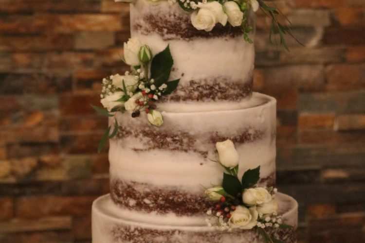 "Elegant ""Semi-Naked"" Buttercream Cake with Flowers"