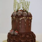 Chocolate Birthday Cake - Triple Chocolate Fudge with Fudge/Caramel Filling and Chocolate Buttercream