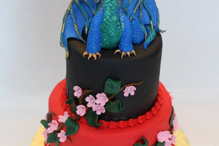 Dragon birthday cake with fondant cherry blossoms