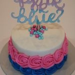 Gender Reveal Cake with Pink and Blue Buttercream Rosettes