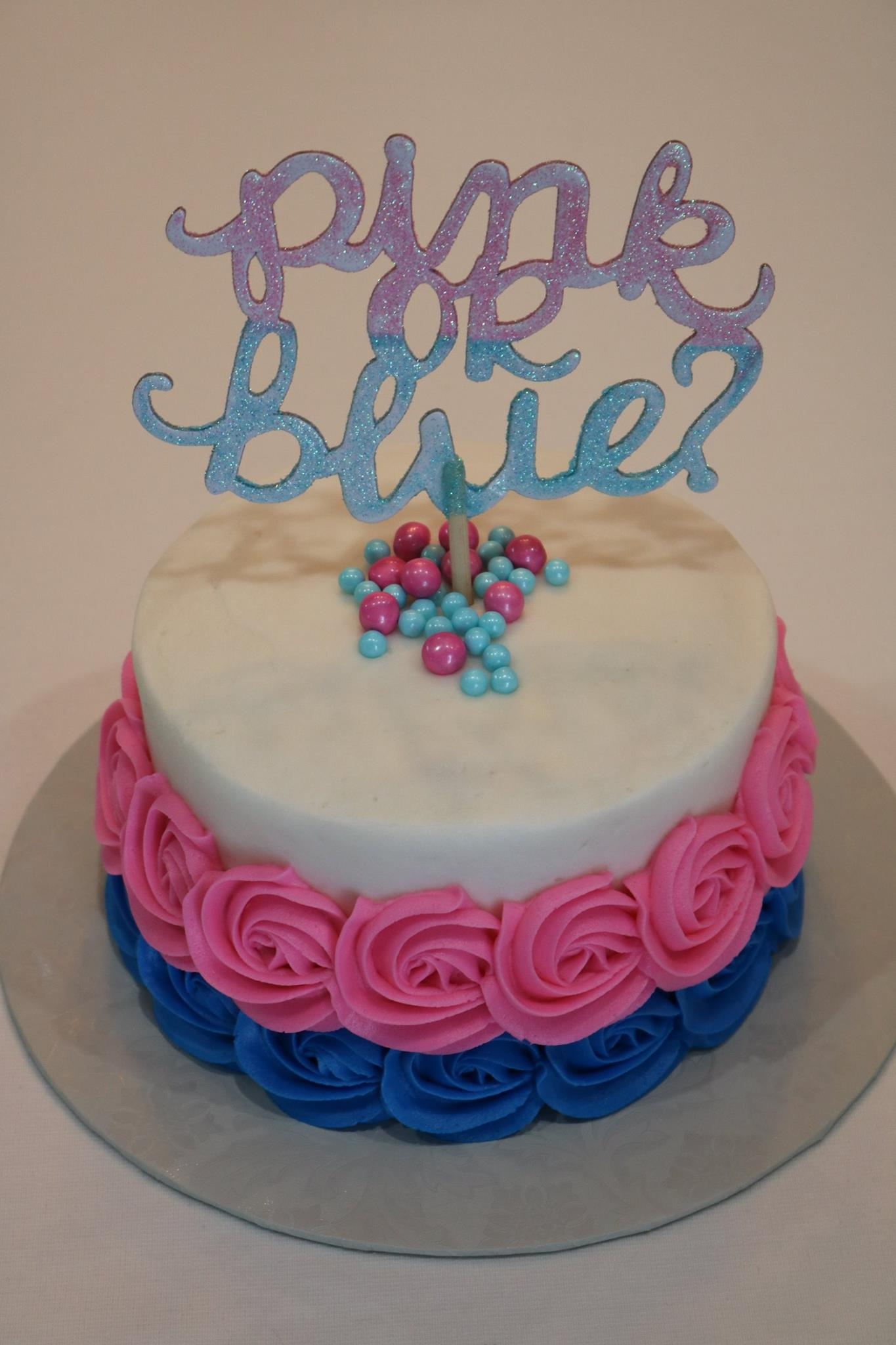 Gender Reveal Cake With Pink And Blue Buttercream Rosettes Rexburg