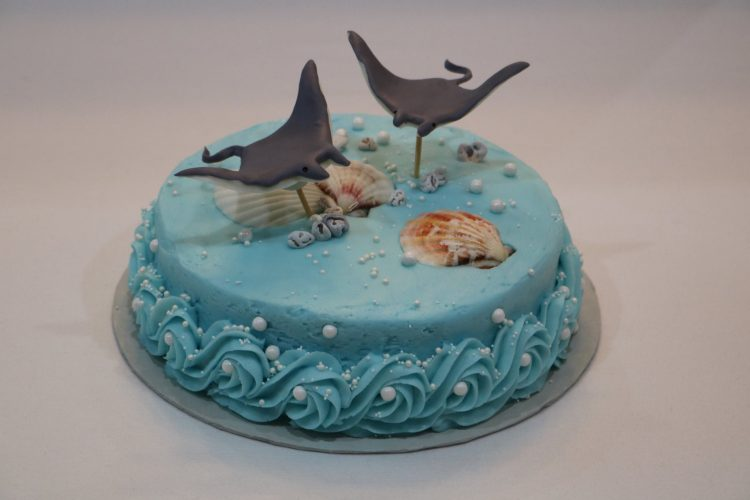 Sting Rays fondant figurines on ocean themed birthday cake