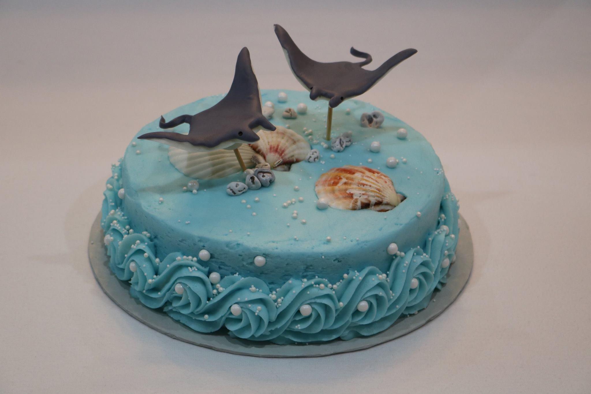 Sting Rays Figurines On Ocean Scene Birthday Cake Rexburg Cakes
