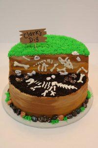 Dinosaur Bones Dig Site Birthday Cake