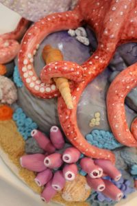"Octopus Cake with graham cracker ""sand"""